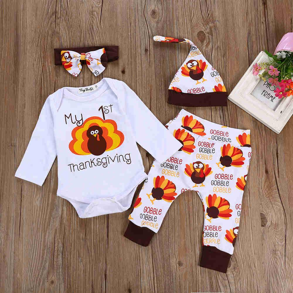 54797cef5774 2019 2018 New Halloween Infant Kids Baby Girl Boy Clothes Flamingo Long  Sleeve Romper+Long Pants+Hats+Headband Outfit Set From Luckyno