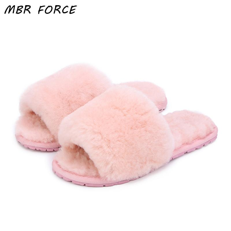 5fc23a60105a8 MBR FORCE Natural Sheepskin Wool Home Slippers Women Fur Slippers Woman  Winter Indoor Slippers Warm Furry House Slippers Lady Ladies Slippers Boys  Slippers ...