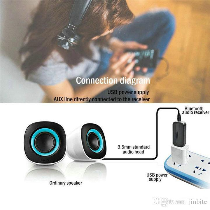 Mini usb bluetooth Stereo Music receiver Adapter Wireless Car Audio 3.5mm Bluetooth Receiver Dongle for cellphone With Retail Package OM-Q5