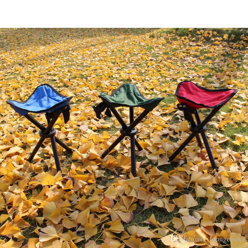 Outdoor Three Legged Fishing Stool Small Size Foldable Camp Beach Chair Portable Travel Picnic Chairs Fish Accessories 8at W