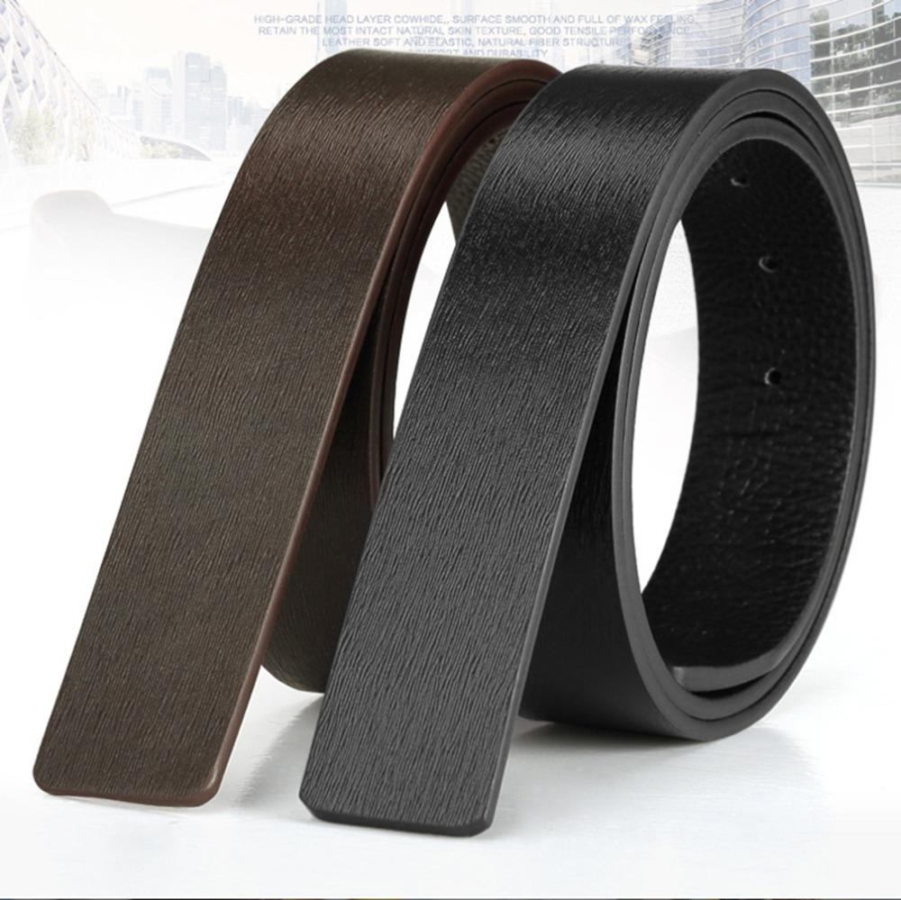 FAJARINA Quality Genuine Leather Cow Skin Small Striped Pattern Men Cowhide Smooth Slide Style 3.3cm Belts without Buckle LUBT07