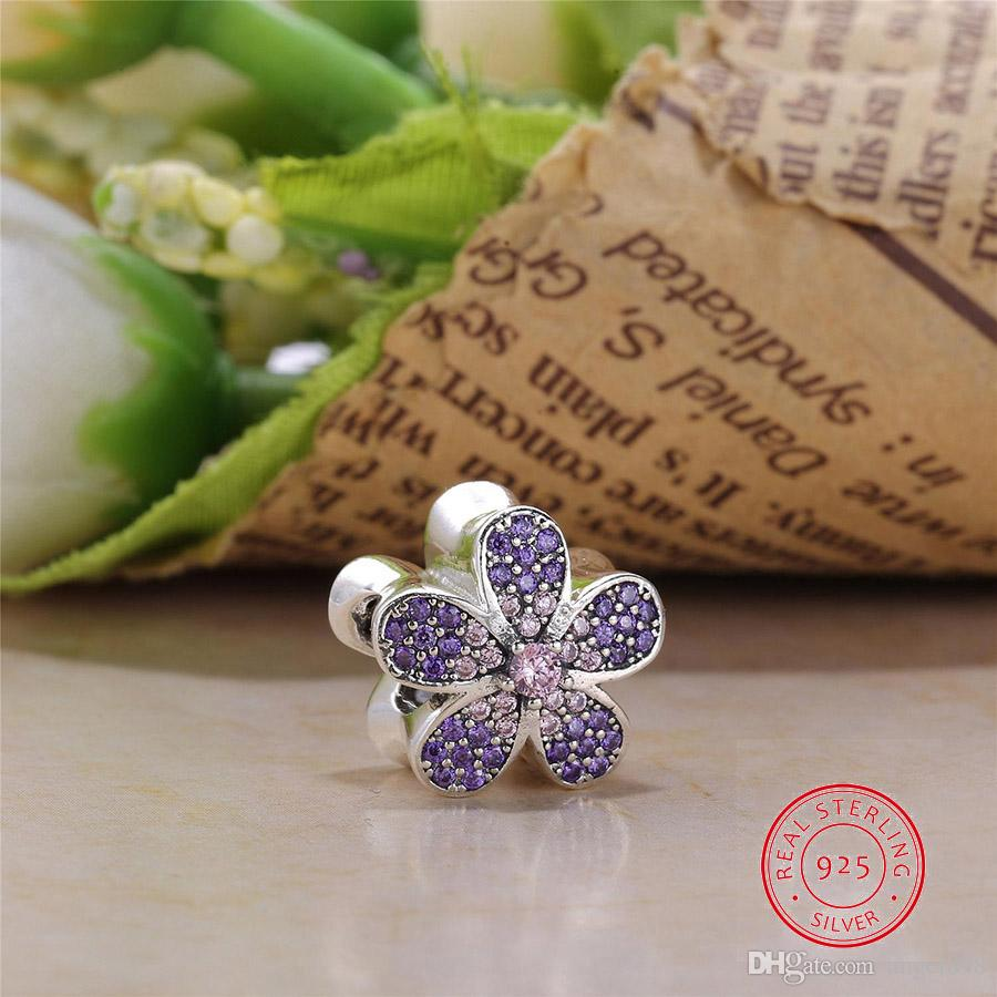 Authentic 925 Sterling Silver Bead Charm Stone inlay Cherry Blossom Clip Stopper Beads Fit Pandora Bracelet DIY Jewelry