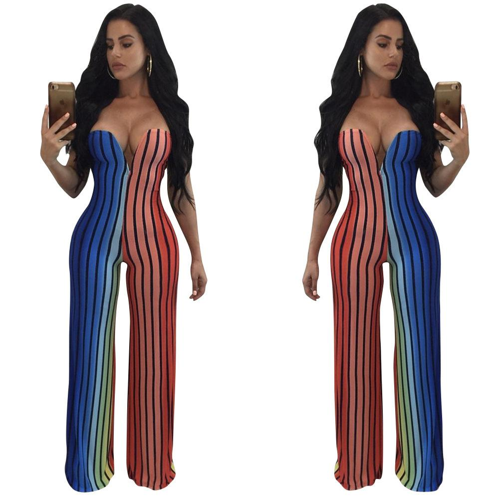 b051972f36d 2019 Autumn Fashion Sexy Wrap Chest Rainbow Color High Clear Printing Lin  Tai Pants Jumpsuit Plus Size Clubwear For Women Amp Rompers From Otaku55