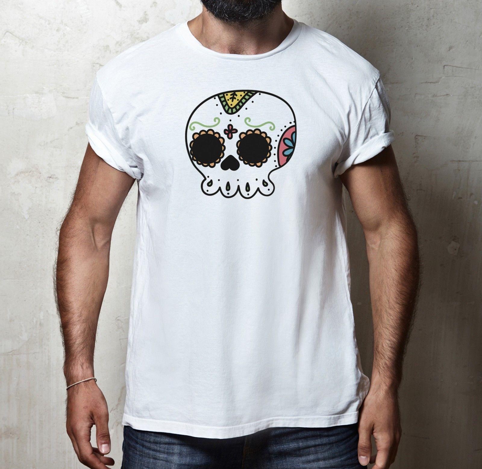 b50d242a00b9 Мексика мультфильм сахар череп День мертвых мужская женская Fit футболка  новое ...