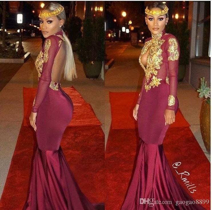 2019 Sexy Formal Evening Dresses Party Prom Wear Long Sleeve Mermaid Lace Applique Beaded High Neck Backless Sweep Train robe de mariée
