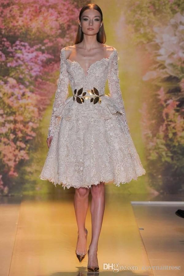 Modest Zuhair Murad Robes De Soirée Courtes Sexy Full Lace Arabique Dubaï Hors-l'épaule À Manches Longues Au Genou Longueur Robes De Fête Celebrity Prom Dress