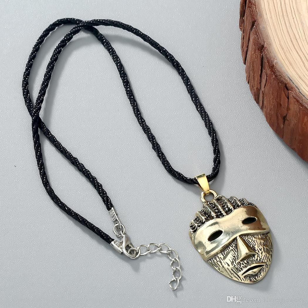 Silver Bronze Plated Punk Mask Head Pendant Necklaces Women Vintage Rope Chain Colier For Female Mens Classic Jewelry