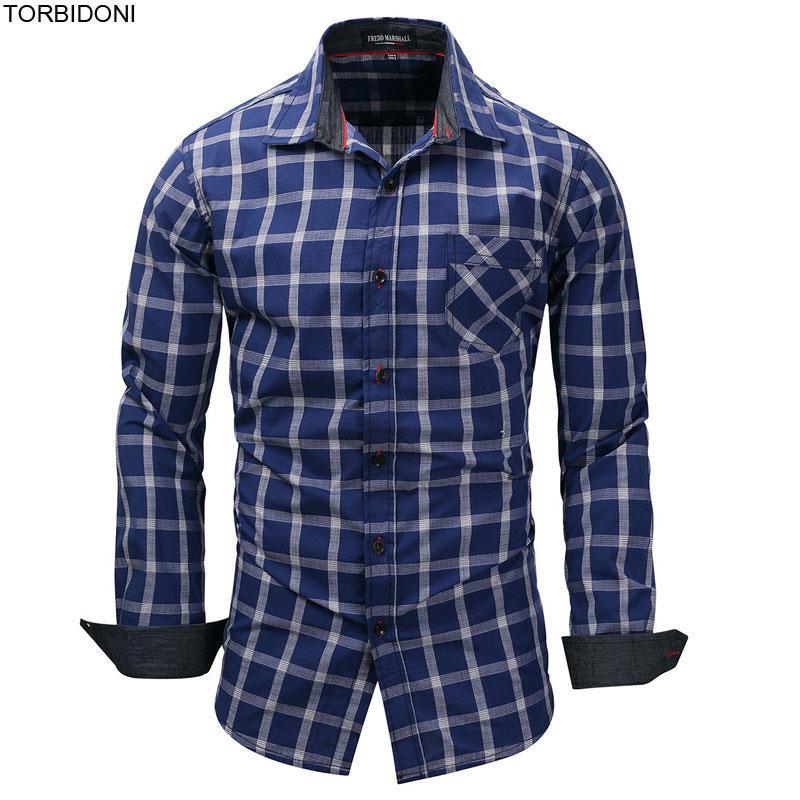 buy popular e212e e2d6e Acquista Camicie A Quadri Uomo Manica Lunga New Fashion Coon ...
