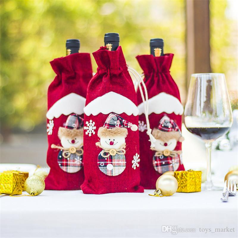 3 Styles Jute Wine Bags Christmas Decoration Santa Claus Ornaments Xmas Champagne Wine Bottle Covers Bag Dinner Table Decor