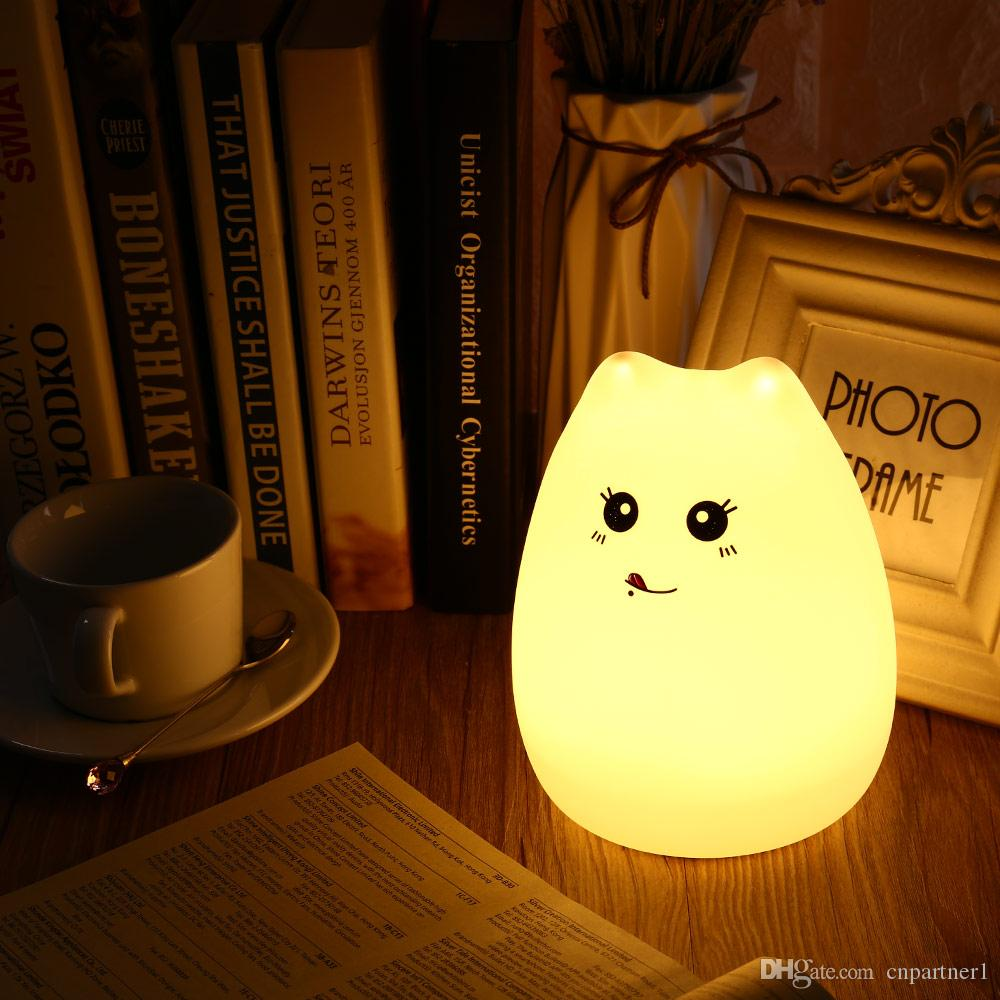 2018 Night Light Cute Cat Lamp Colorful Light Silicone Cat Night Lights 2  Modes Children Cute Night Lamp Bedroom Rechargeable Touch Sensor UK 2019  From ... 29b3587bc5
