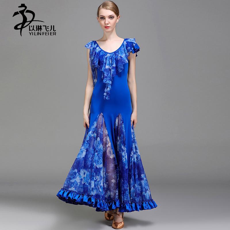 32d652f2bf9c 2019 Ballroom Dance Competition Dresses Women Modern Waltz Ballroom  Standard Costumes Ice Silk Fabric Skirt From Beenlo, $105.39   DHgate.Com
