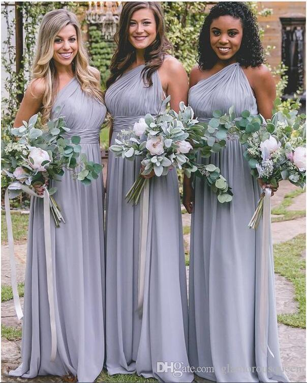 cc68dcb630b Country Dusty Blue Bridesmaid Dresses For Weddings Elegant Chiffon One  Shoulder Pleats Long Maid Of Honor Gowns Plus Size Dark Grey Bridesmaid  Dresses Deep ...