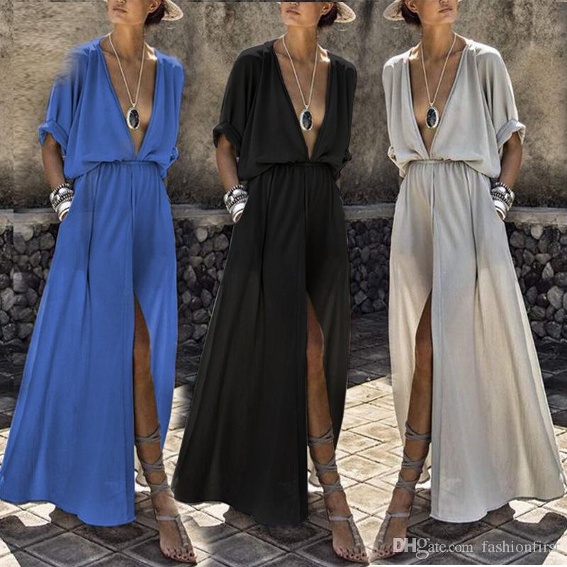 Maxi Long linen kimono dress with elastic waist fit and flare summer dress sexy deep v neck slit fashion loose linen dress