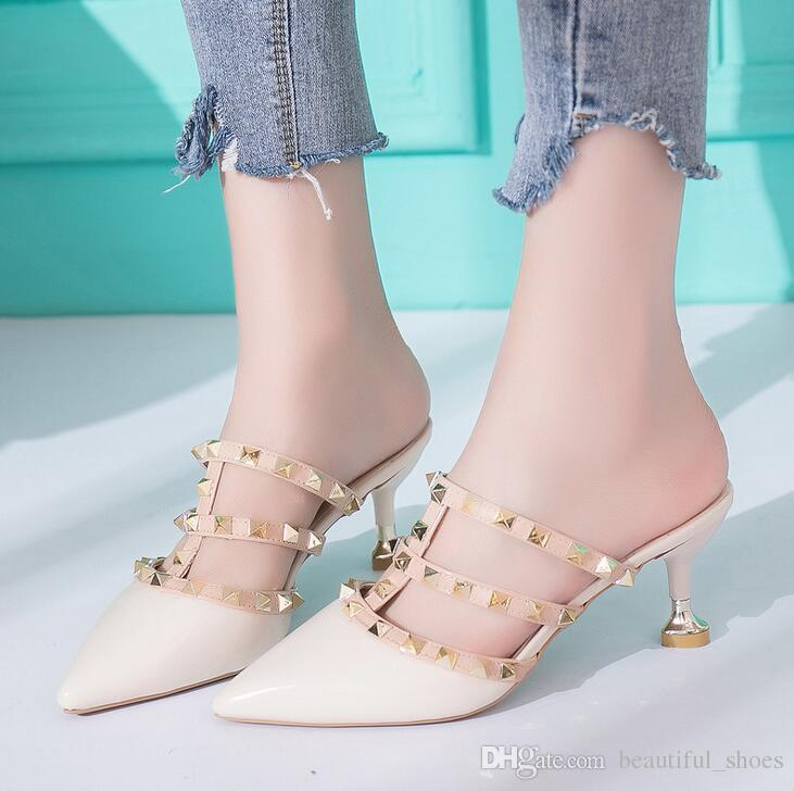 251971701985c5 2018 Ms. Summer Sandal Pointed Rivets Ladies Slippers Fashion Brand Wild  Fine With Classic Ladies Sandals Leather Sandals Wedding Sandals From ...