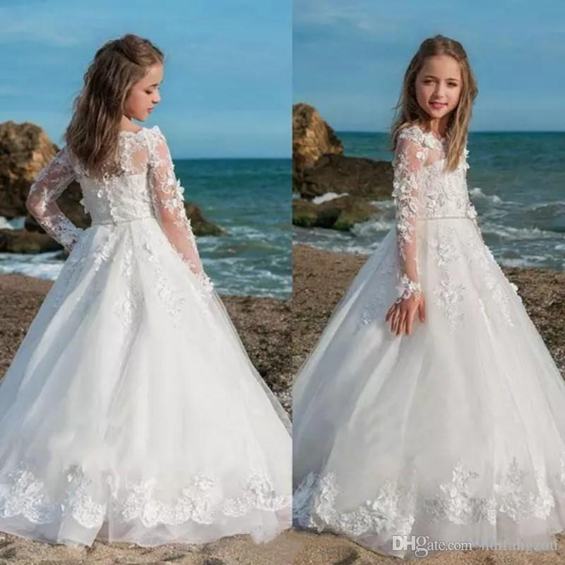 b7a7cf331 Cute Princess Flower Girl Dresses Delicate 3D Lace Applique Long Sleeves  Floor Length Belts Custom Made Party Dress Pageant Gowns Camo Flower Girl  Dresses ...