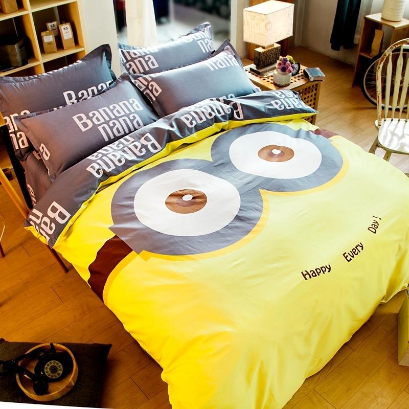 2018 Cute Yellow Minions Bedding Sets Duvet Cover Quilt Bedding Bag