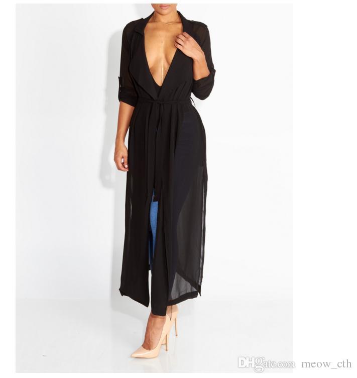 Cappotto cardigan a maniche lunghe in chiffon a i con camicia a vento a i da donna sexy estate casual da donna
