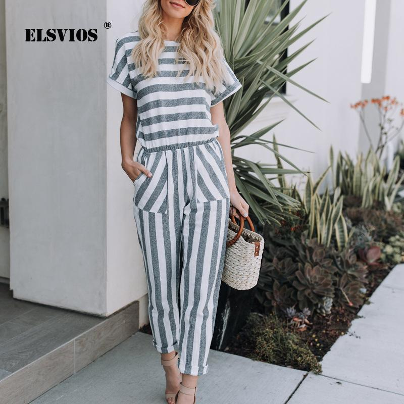 0a3b1899a162ce ELSVIOS Combi-short imprimé rayé femme Combinaisons décontracté Streetwear  avec poche 2018 Combinaison estivale nouveau-né taille haute