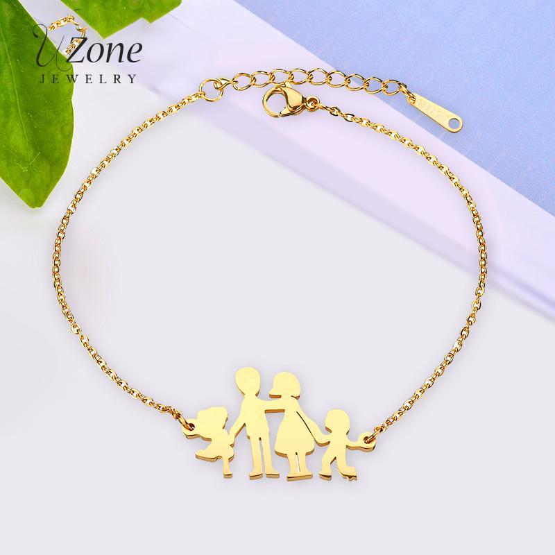 33c4f6009bbbf UZone Stainless Steel Family Charm Bracelet Mom Dad Boy Girl pendant  Bracelet for Women Mother Gift Jewelry