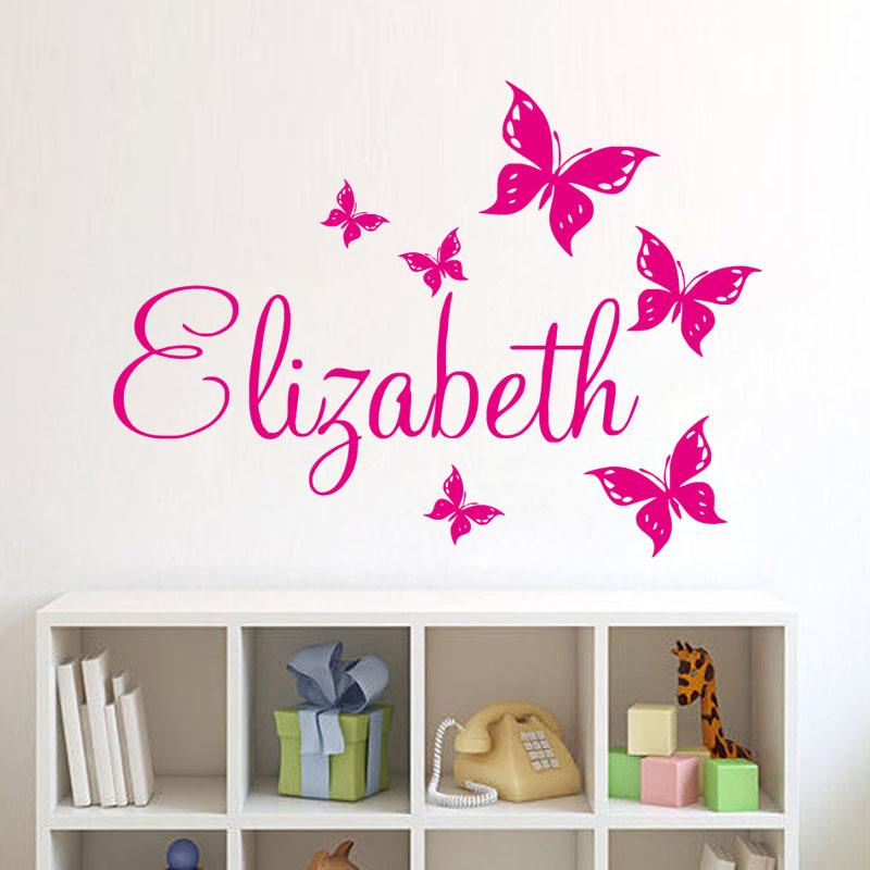 Personalize wall sticker butterflies vinyl art decals customized name wall stickers for bedroom decor tree wall decal tree wall decals from industrial
