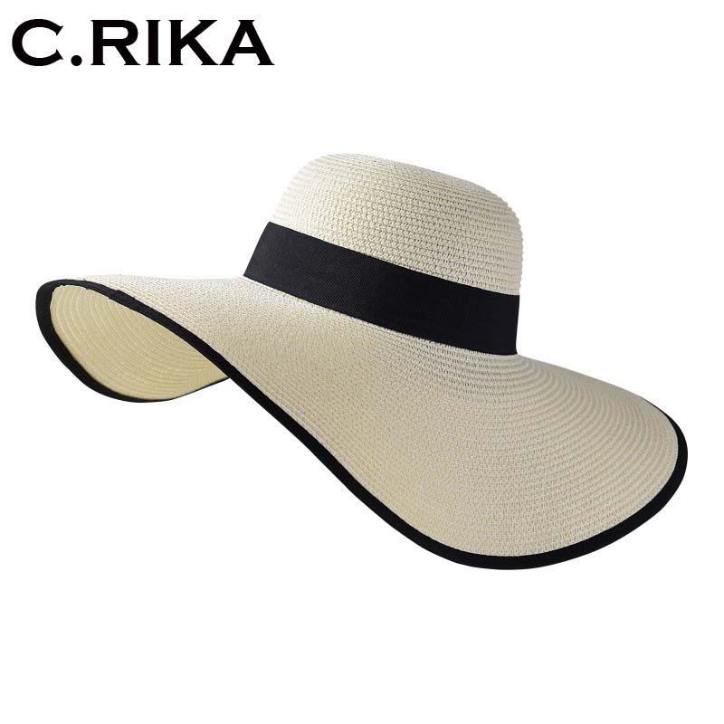 9a43cde7292 Women Summer Large Brim Sun Hats for Girl Fashion Floppy Straw Hat ...