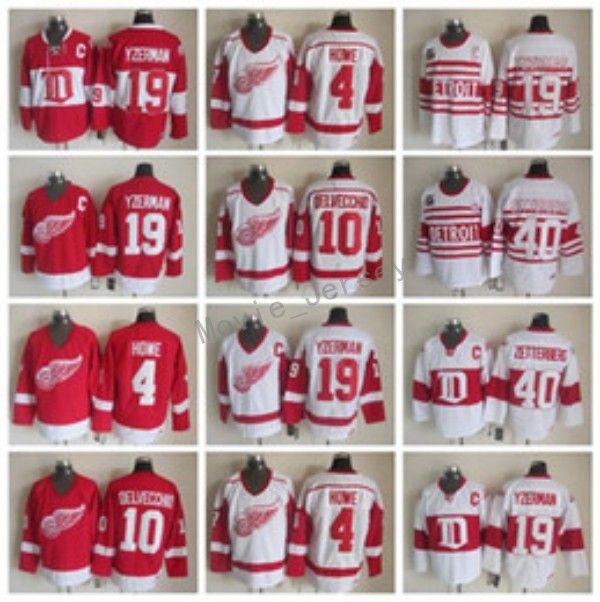8cdce4f8 Detroit Red Wings 19 Steve Yzerman Jersey Men 40 Henrik Zetterberg ...