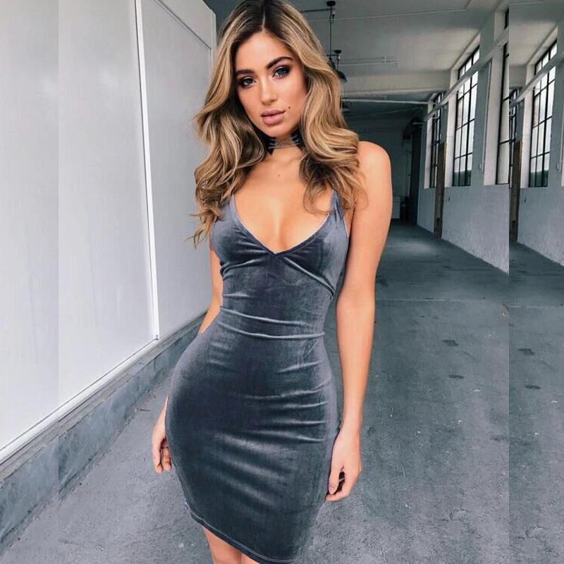bad1bae085fd Sexy Slim Bodycon Dress Plunge Front Deep V Neck Backless 2019 Summer Women  Clothes Mini Dresses Size S XL Yellow T Shirt Dress Dress For Womens From  ...