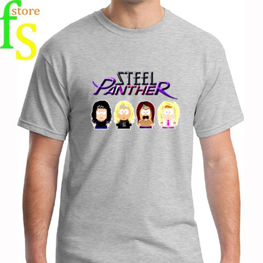 New STEEL PANTHER *Personels Cartoon Rock Band Men's Grey T-Shirt Size S-3XL