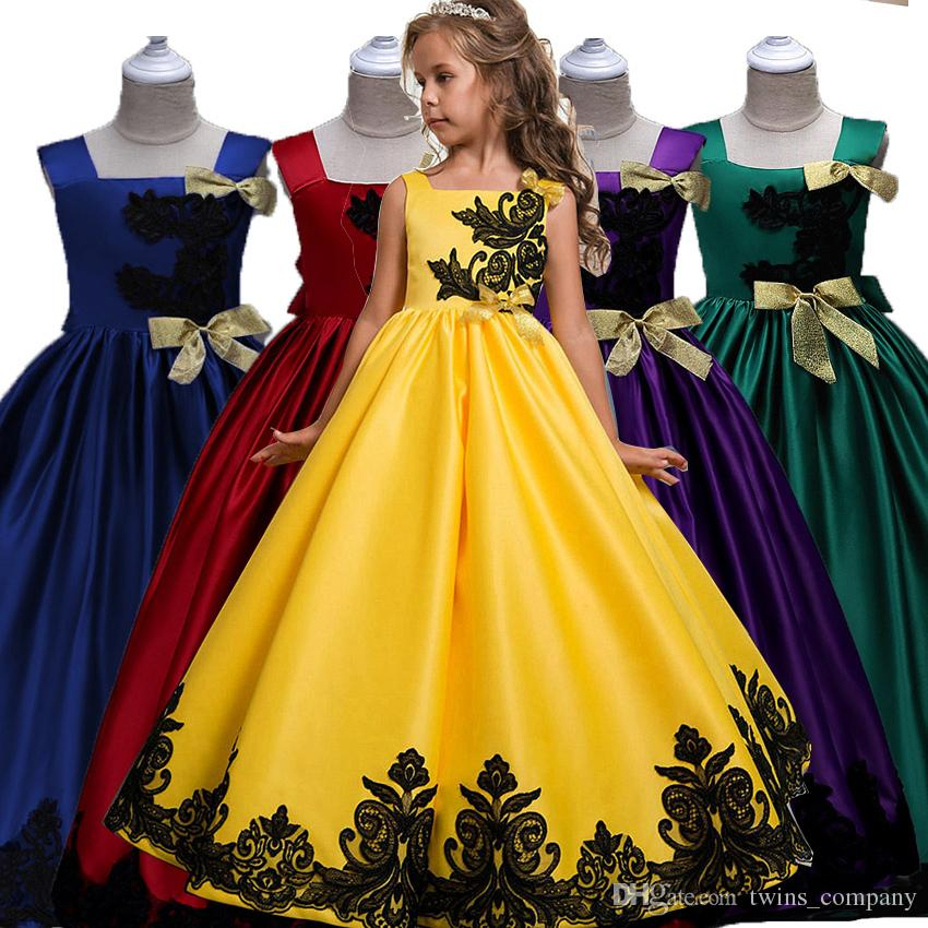 Girl Wedding Pageant Party Dress High Quality Children Clothes Embroidered Long Evening Princess Tutu Dresses 3-14Y