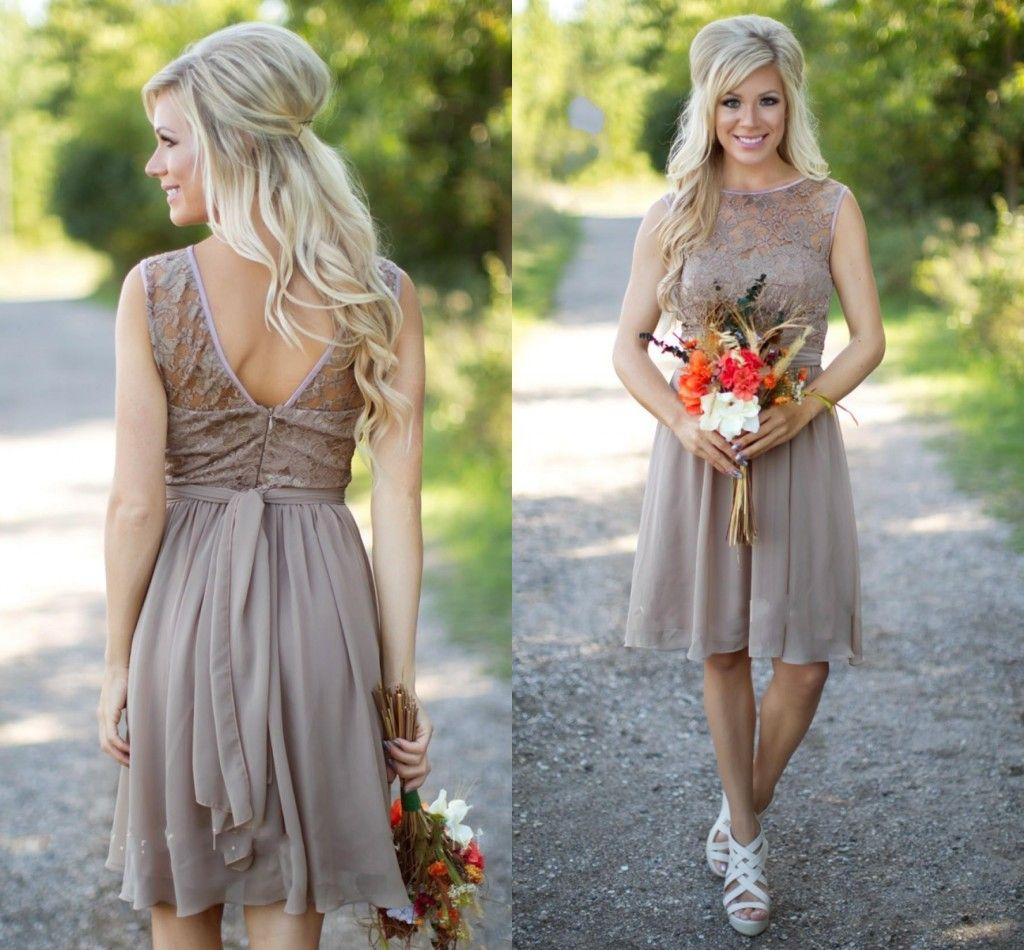 3fd7252b05036 Grey Chiffon Country 2018 Bridesmaid Dresses Lace Scoop Neck Knee Length  Wedding Party Short V Back Cheap Beach Bohe Maid Of The Honer Gowns Cadbury  Purple ...