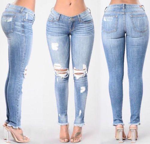 Mode Frauen Bleistift Beiläufige Dünne Gamaschen Hosen Hohe Taille Dünne Jeans Hosen Loch Tägliche Kurze Damen Damen Hose Capris