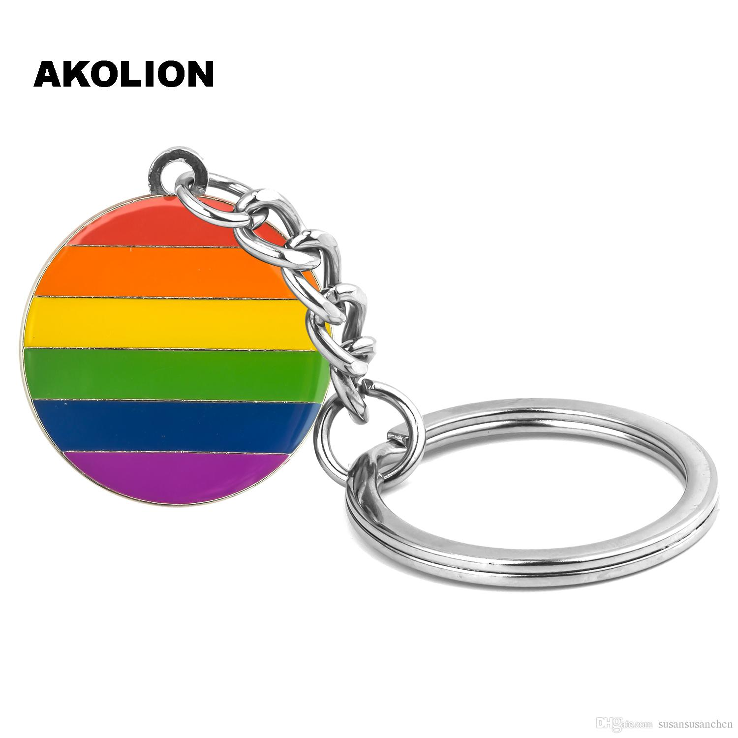 Gay Pride Rainbow LGBT Round Key Chain Metal Key Ring Fashion Jewelry for Decorative
