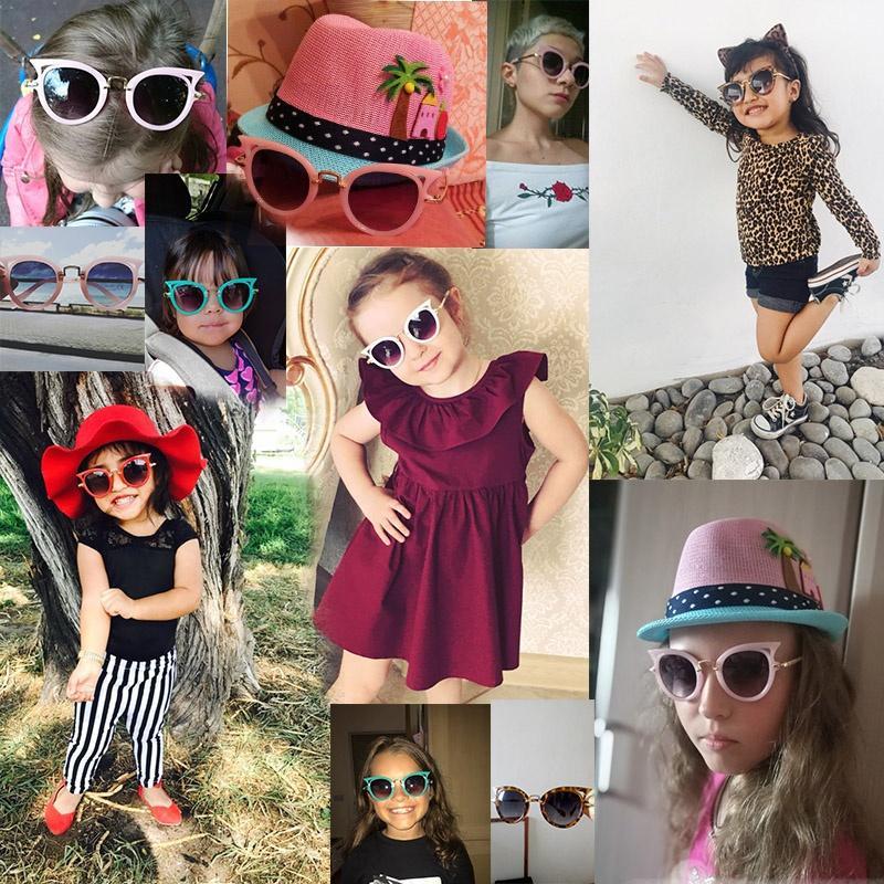 Olho de gato Crianças Óculos De Sol Menino Menina Moda UV Proteção Óculos de Sol Simples Bonito Óculos de Armação Criança Eyewear Acessórios de Praia de Verão