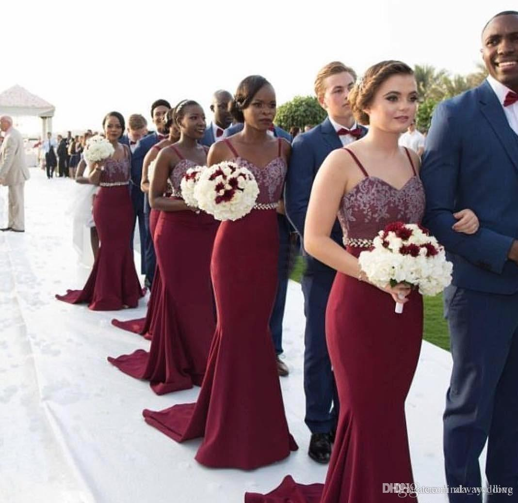19cbe30ee4b2 2017 New African Burgundy Bridesmaid Dress Vintage Lace Appliques For Summer  Garden Wedding Guest Maid Of Honor Gown Plus Size Custom Made Cheap Purple  ...
