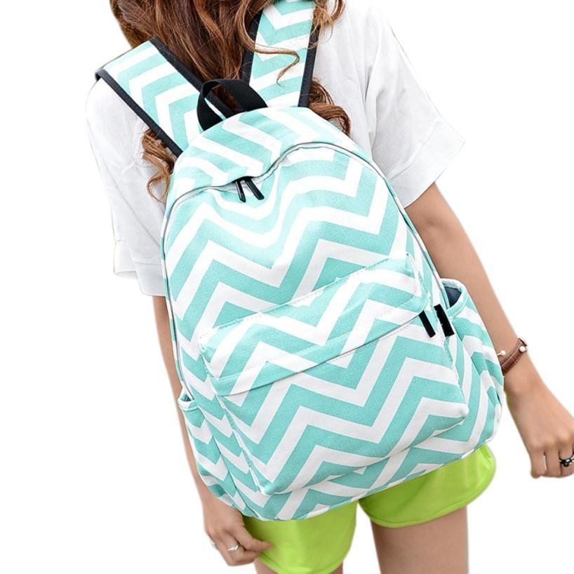 13c37d99fb46 Sleeper  5001 Women Double-Shoulder Sweet Stripe Canvas Backpack ...