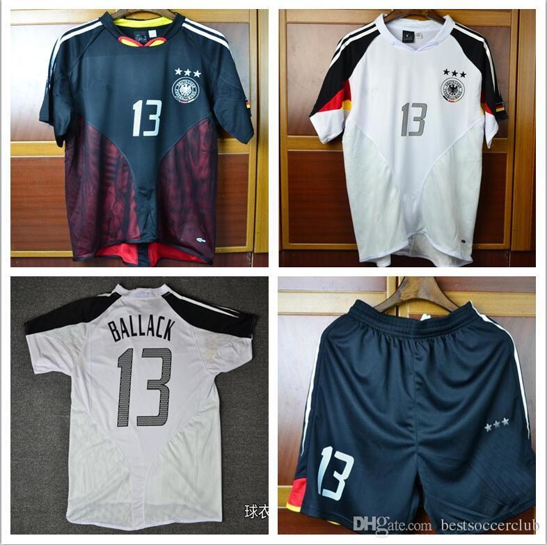 527b6cef1dbfe Compre Copa Do Euro 2004 Alemanha Home Away Retro Futebol Jersey 3 Estrelas  Camisas De Futebol Klose 04 Ballack Uniformes Camisas De Futebol De ...