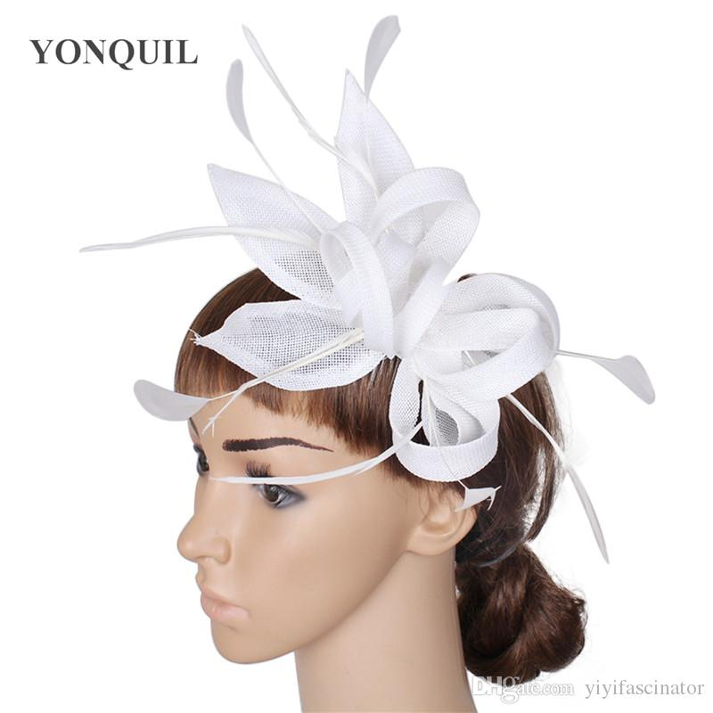 7850793894e NEW ARRIVAL Imitation Sinamay Fascinator Hats White Cocktail Hat ...