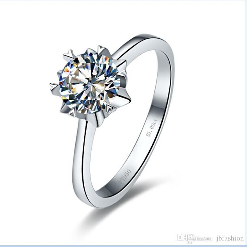Simple 1ct Snow Design Synthetic Diamond Ring For Wedding Solitaire