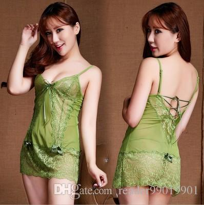 c60618736bbe Hot Sale Women Sexy Lace Lingerie Sleepwear Babydoll Nightwear Teddydream  Feature Hollow Translucent Underwear Short Dress #S56 Online with  $13.17/Piece on ...