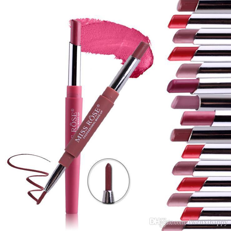 Com duração Lipliner Waterproof Lip Liner vara lápis 8 Cor Multi-função double-end Lip Liner Batom Lip Gloss