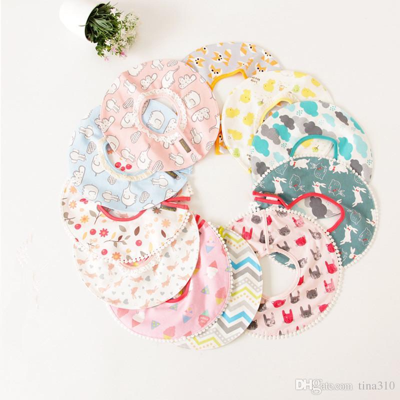 Wholesale- 12 Patterns Kids Bibs Cute Newborn Baby Cotton Round Cartoon Girls Boys Feeding Unisex Burp Cloths T2I041