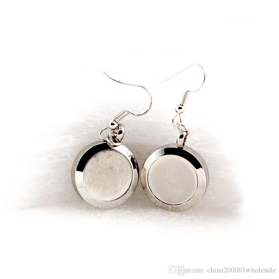 Silber Nur Atmen Parfüm 20 MM Aromatherapie Medaillon Ohrringe Frauen Mode Ätherisches Öl Diffusor Medaillon Tropfen Ohrring Freies Pads