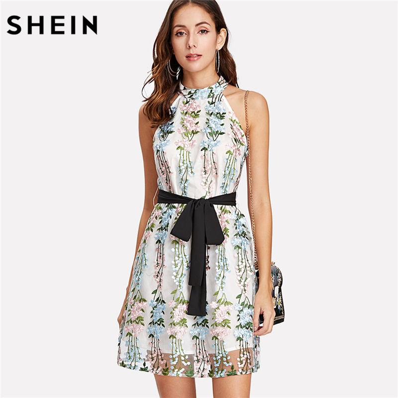 8953d8b81 2019 SHEIN Embroidery Women Dresses Sleeveless Multicolor Belted Fit And  Flare Party Dress Applique Mesh Overlay Halter Dress From Dayup, $62.6 |  DHgate.Com