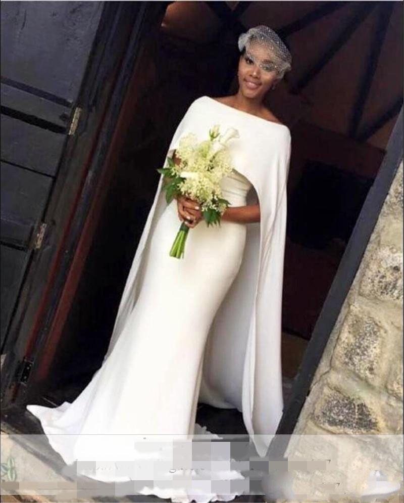 Einfache weiße Brautkleider elegante Cape Stil Meerjungfrau Brautkleider südafrikanischen günstige Hochzeit Vestidos Custom Made Frauen formelle Kleidung