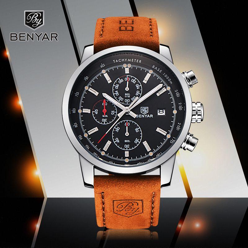 07f7bc271f91 Compre Reloj Hombre 2017 De Primeras Marcas De Lujo BENYAR Cronógrafo De Moda  Deporte Relojes Para Hombre Reloj De Cuarzo Militar Reloj Relogio Masculino  ...