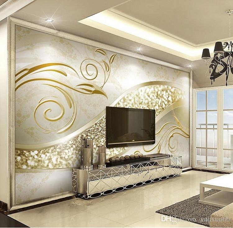 Custom photo wallpaper luxury european style golden - Wallpaper design for living room price ...