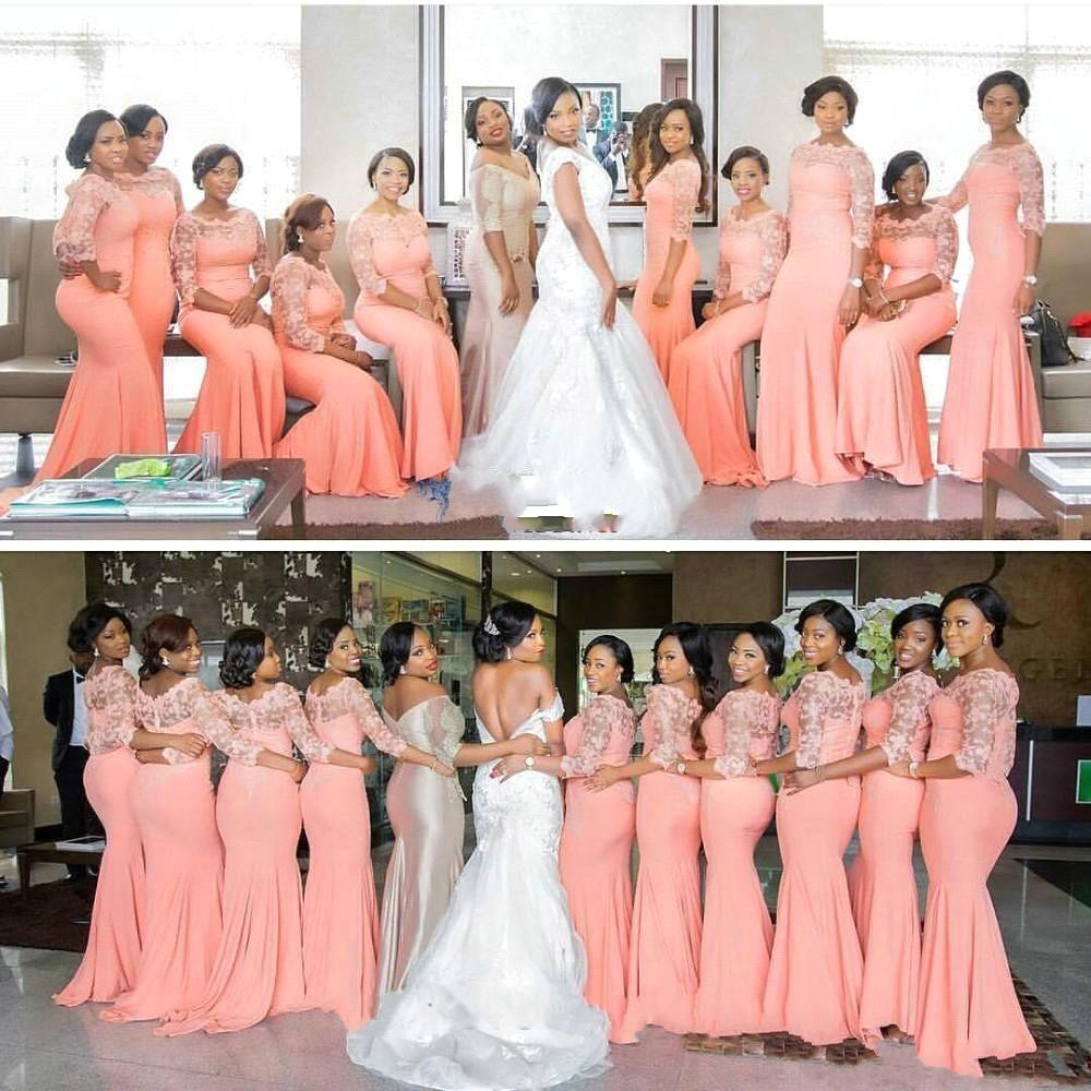 Best Selling African Coral Bridesmaid Dresses For Black Girl Half Sleeves Lace Satin Scoop Neck Long Wedding Party Dresses