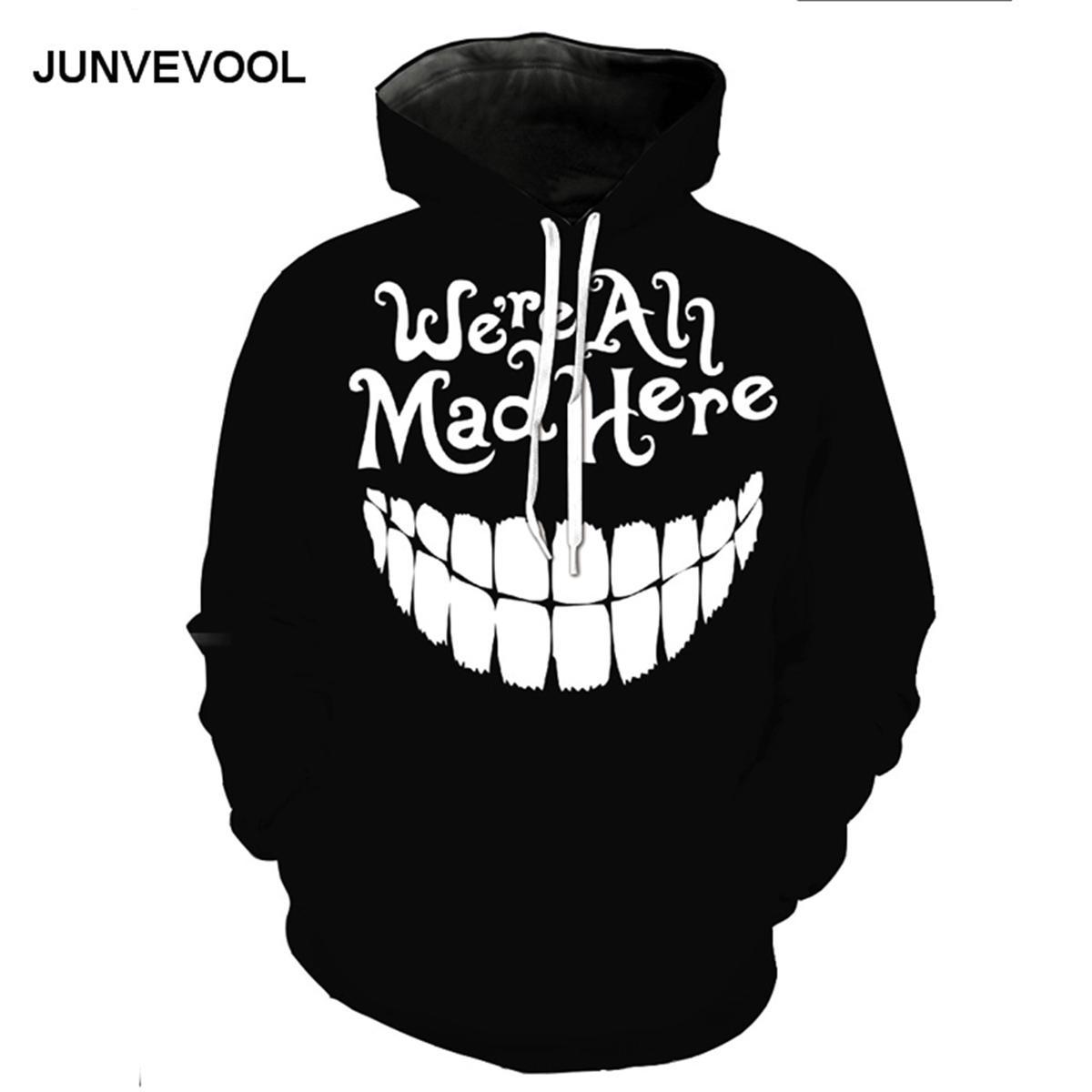Compre Sudaderas Con Capucha Negras Hombres Hip Hop Harajuku Sudadera  Nuevas Camisetas De Fitness Chándales Divertidos Sonrisa Diente Pullover 3D  Tees Tops ... 4352679050a