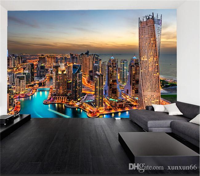 Grande afresco de estilo europeu, porto de pesca de dubai, papel de parede, papel de parede, papel de parede da sala de estar