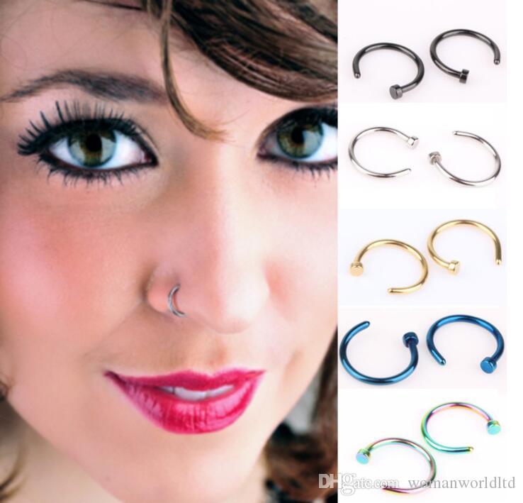 Anneaux de nez bijoux piercing de corps Bijoux de mode en acier inoxydable anneau de nez anneau de boucle d'oreille goujons faux anneaux de nez faux anneaux non piercing
